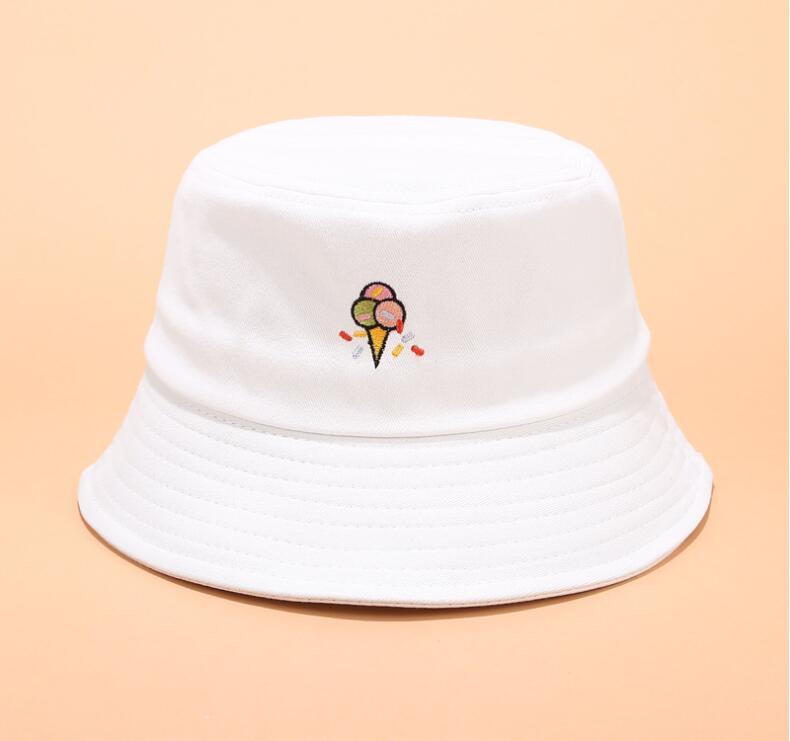 2019 Creative Embroidery Bucket Hat Unisex Cute Ice Cream Bob Cap Hip Hop Gorros Men Summer Caps Panama Fishing Bucket Hat Without Return