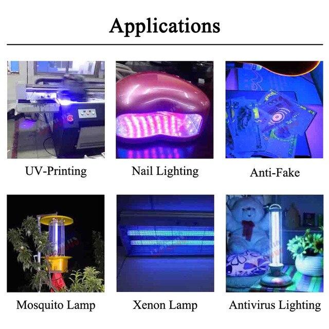 High Power LED Chips 1W 3W 5W 10W 20W 30W 50W 100W UV Purple 365nm SMD COB 45mil Ultraviolet Lights 3W 5W 10W 20W 30W 50W 100W