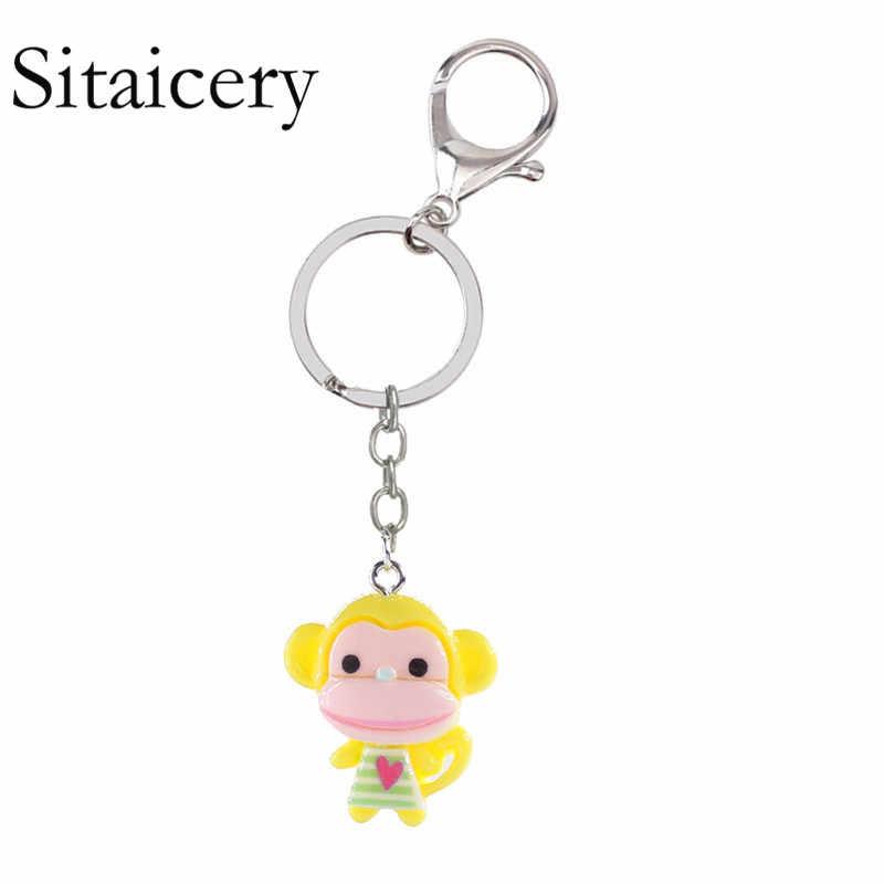 Sitaicery mono llaveros anillos bolsa coche amuletos joyería para mujeres niñas joyería Chaveiro lindo llavero abalorio
