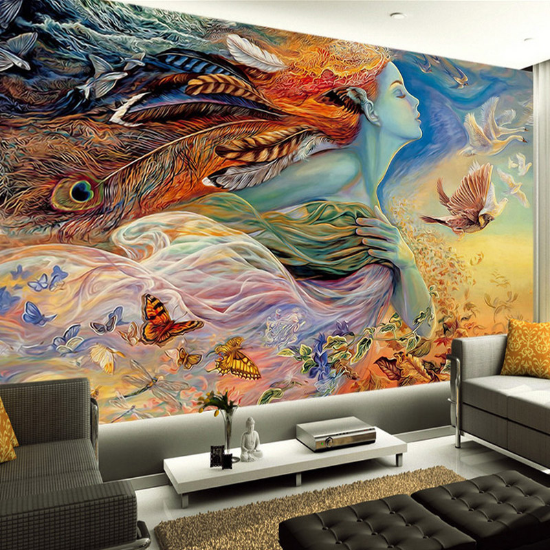 Fantasy art paintings wall mural custom 3d wallpaper for Decorative mural painting