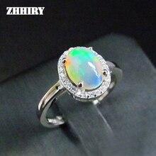 ZHHIRY женское кольцо с натуральным опалом и камнем, подлинные Твердые серебряные драгоценные камни, ювелирные кольца