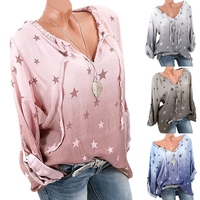 2018 New Arrival Women S V Neck Long Sleeved Casual Loose Blouse Shirt Gradient Color Stars