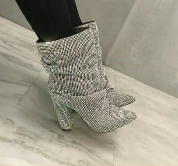 Chunky Luxe Mode Piste Botas Boot Strass Courtes Talons Cheville Picture Bout Cristal Femmes Bottes Pointu Embelli As Débarrasser XrAHBXwq