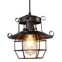 American Vintage industrial style wrought iron lamps restaurant cafe iron cage Hanging Light For Dinning Room