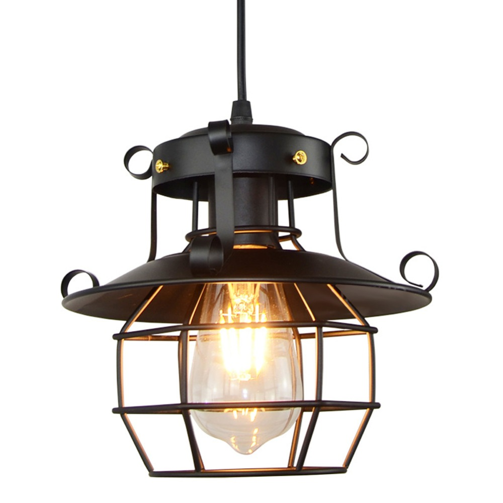 American Vintage industrial style wrought iron lamps restaurant cafe cage Hanging Light For Dinning Room