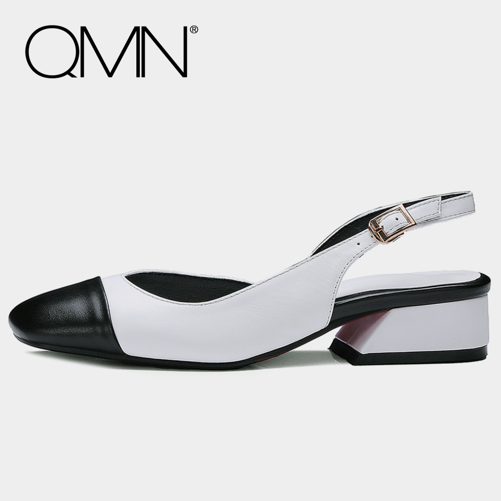 QMN genuine leather women flats for Women Contrast Color Square Toe Slingbacks Slip On Summer Shoes Woman Zapatos Mujer 34-41 qmn women genuine leather flats women square toe brogue shoes woman typical british style real leather oxfords 34 40