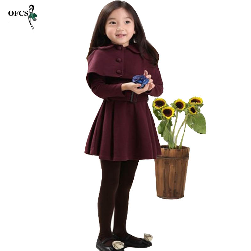 OFCS Brand Autumn Winter Girls Clothes New Children Dress High Quality Woolen Child Dress Shawl Dress Kids Children Clothing 15T brand kids girls dress autumn winter
