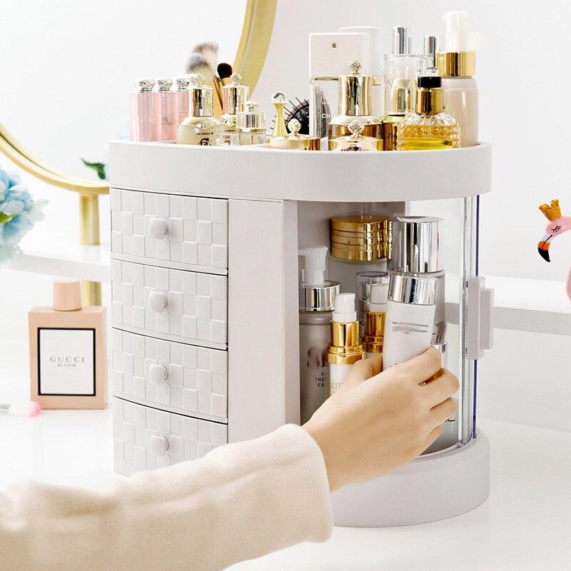 Nouveau coiffeuse 4 tiroirs maquillage porte-boîte de rangement Transparent Rotation fenêtre rouge à lèvres organisateur pour cosmétique brosse bijoux