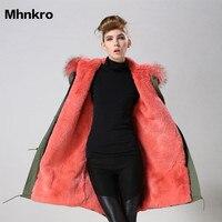 6Color Ladies winter party wear fashion long down fur parka coat fake fur environment friendly wear