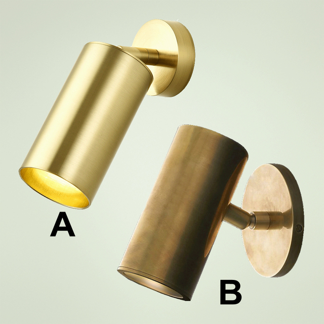 100% נחושת טהורה צילינדר פליז פליז אור קיר מנורות קיר תאורה קבועה LED מנורת קיר תאורת צינור מתכוונן נחושת