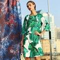 Verde Bonito Twinsets 2016 No Início do Outono de Impressão Da Folha de Lantejoulas Beading Folha de Impressão de Manga Curta Tops + Rua Fino Saia longa conjuntos