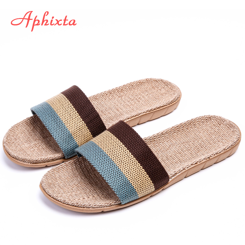 Aphixta Women Slippers Men Flax Indoor Slids Flat Heel Summer Bedroom Slippers Gingham Flax Home Female Male Fashion Shoes W new 2017 fashion flax slippers men summer couple indoor home slippers male comfortable floor slippers home men hemp slides