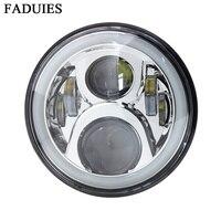 Mejor Fadies cromo 7 pulgadas 65W LED redondo motocicleta H4 faro con anillo Halo para Honda CB400 CB500 CB1300 Hornet 250, 600, 900,