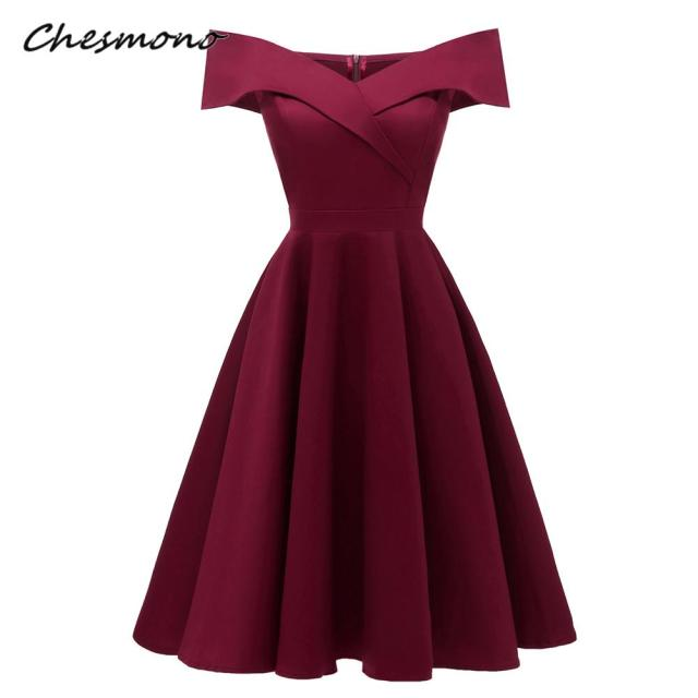 Sexy Off Shoulder Women Short Sleeve Solid Midi Dress Pin Up Rockabilly  Swing Flare Vintage Hepburn b3fca22dfe5c