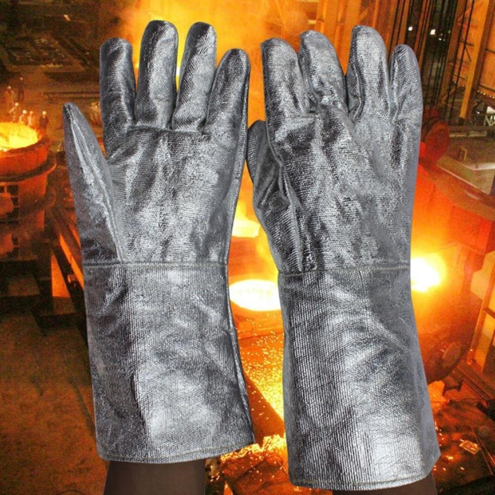 A Pair/Set Aluminum Foil Fireproof Gloves Flexible Full Finger Heat Insulation Gloves Fire Resistant Safety Gloves fire granny 2018 11 20t20 00