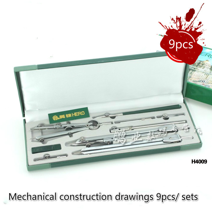 все цены на Construction machinery drawing drawing tool for drawing compasses set 9pcs/ sets of drawing instruments H4009