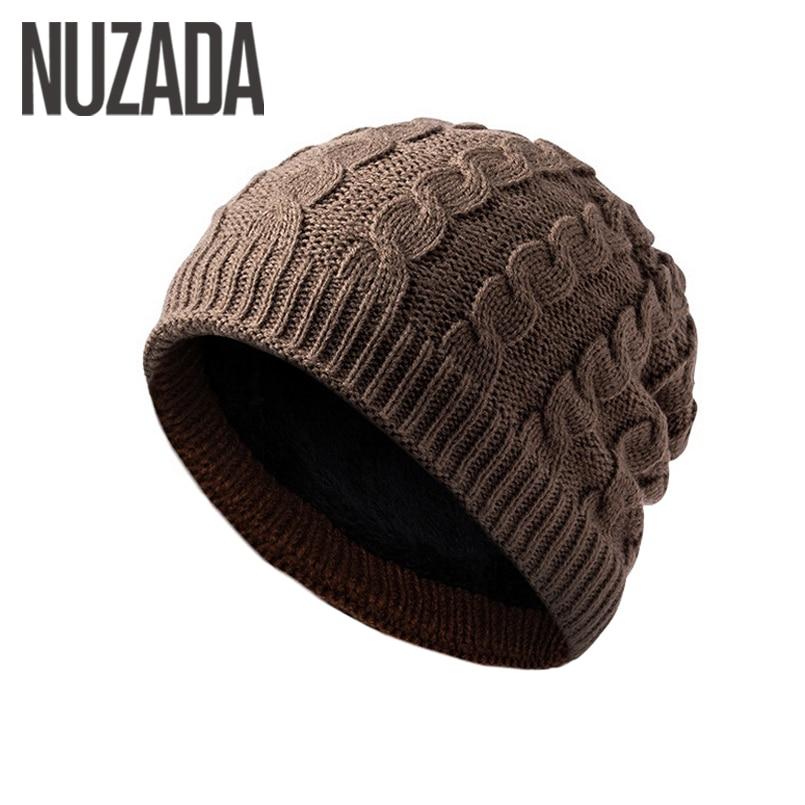 Brand NUZADA Internal Plush Winter Autumn Men Women   Skullies     Beanies   Hedging Cap Knit Knitted Caps Bonnet Hat Keep Warm
