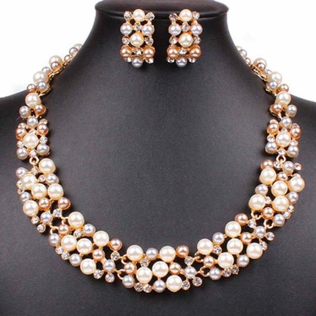 New Womens Ladies Jewellery Sets Rose Gold Plated Faux Pearl Crystal Necklace Earrings Set For Party