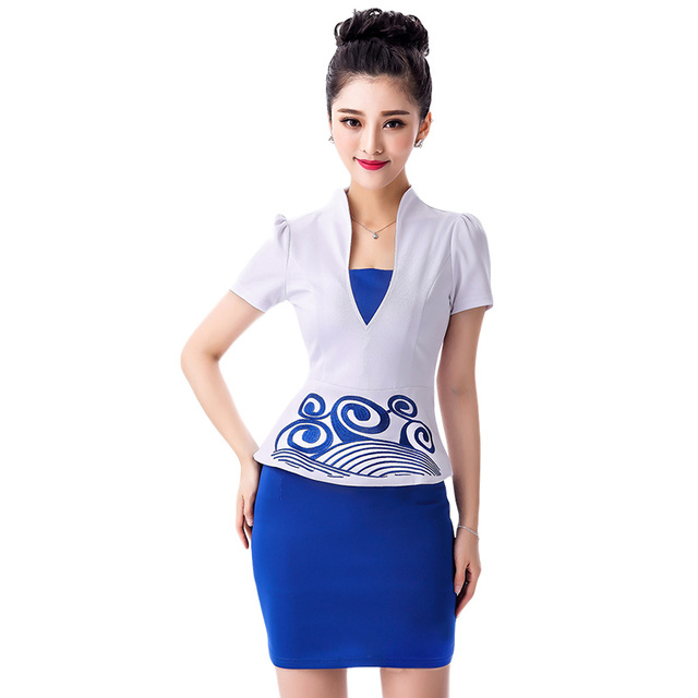 e86342b4620f 2016 New Summer OL Workwear Women s Skirt Suits Sets Fashion Female Formal  Suit Short-sleeve