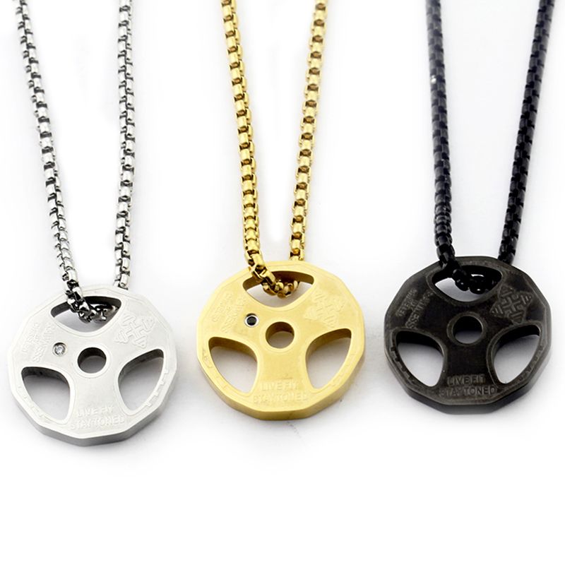 Fitness Necklace Barbell Dumbbell Pendant CLOVER JEWELLERY