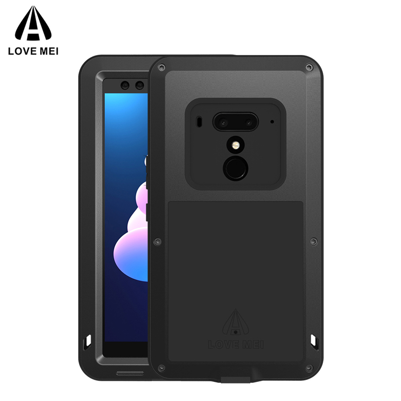 Love Mei Shockproof Case for HTC U12 Plus Heavy Duty Hybrid Aluminum Metal+Tempered Glass Waterproof Case for HTC U12+ 6 Inch