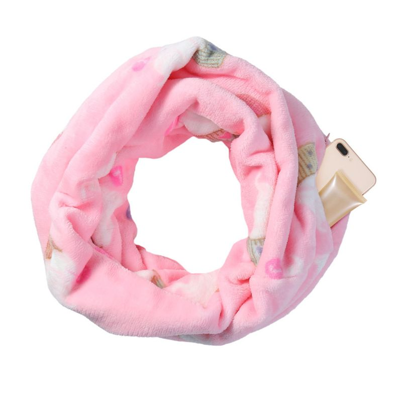 Womens Solid Color Infinity Fashion   Scarves     Wrap   Hidden Zipper Pocket Travel   Scarf