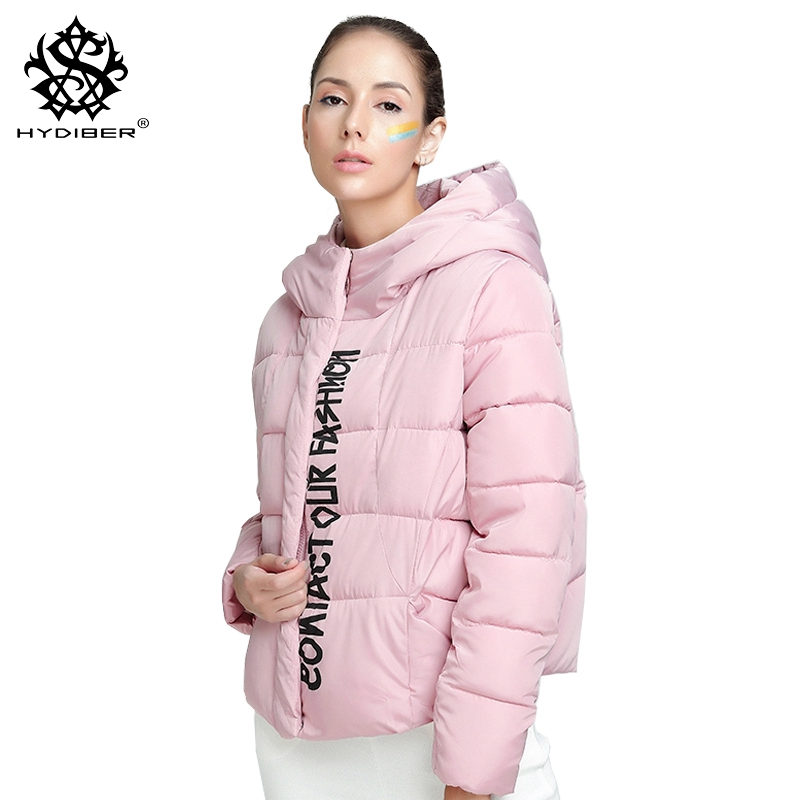 hydiber 2018 New Winter Long Sleeve Women Cotton Padded Pink Short Parka Laides Letters Pattern Hooded
