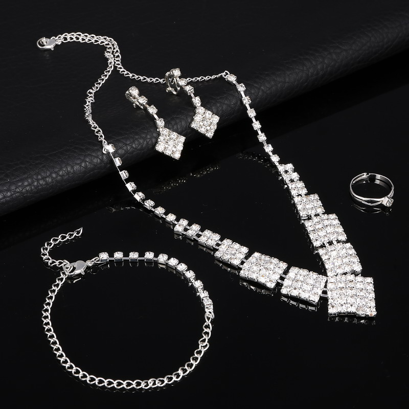 Jewelry Ring Bracelets Wedding-Necklace Crystal Silver Cubic-Zirconia AAA for Luxury
