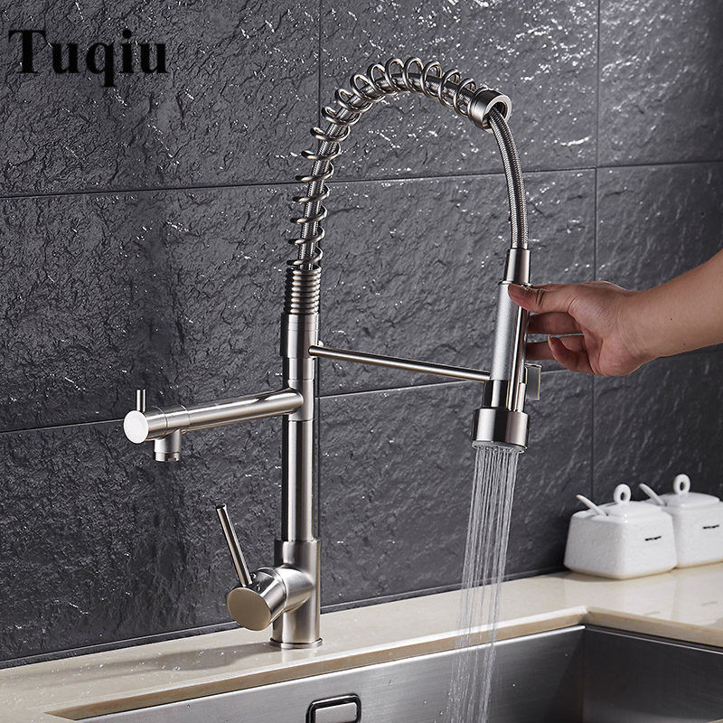 Kitchen Faucet Brushed Nickel/Chrome Brass Faucet Kitchen Sink Pull Out Spring Spout Mixers Tap Hot Cold Unique Design Water Tap цена