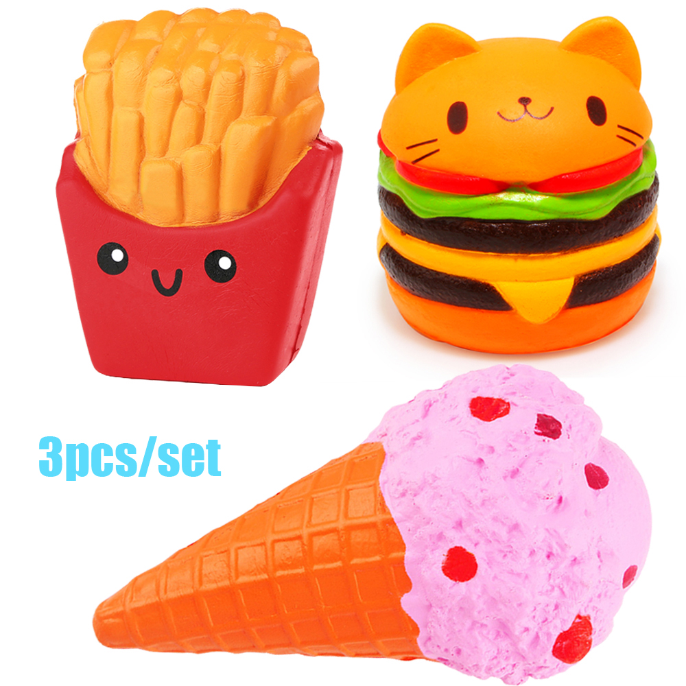 Anti-stress 3pcs Soft Squash Ice Cream Burger Squishy Set Jumbo Slow Rising Food Anti-Stress Squish Toy For Kids Adult Gift New