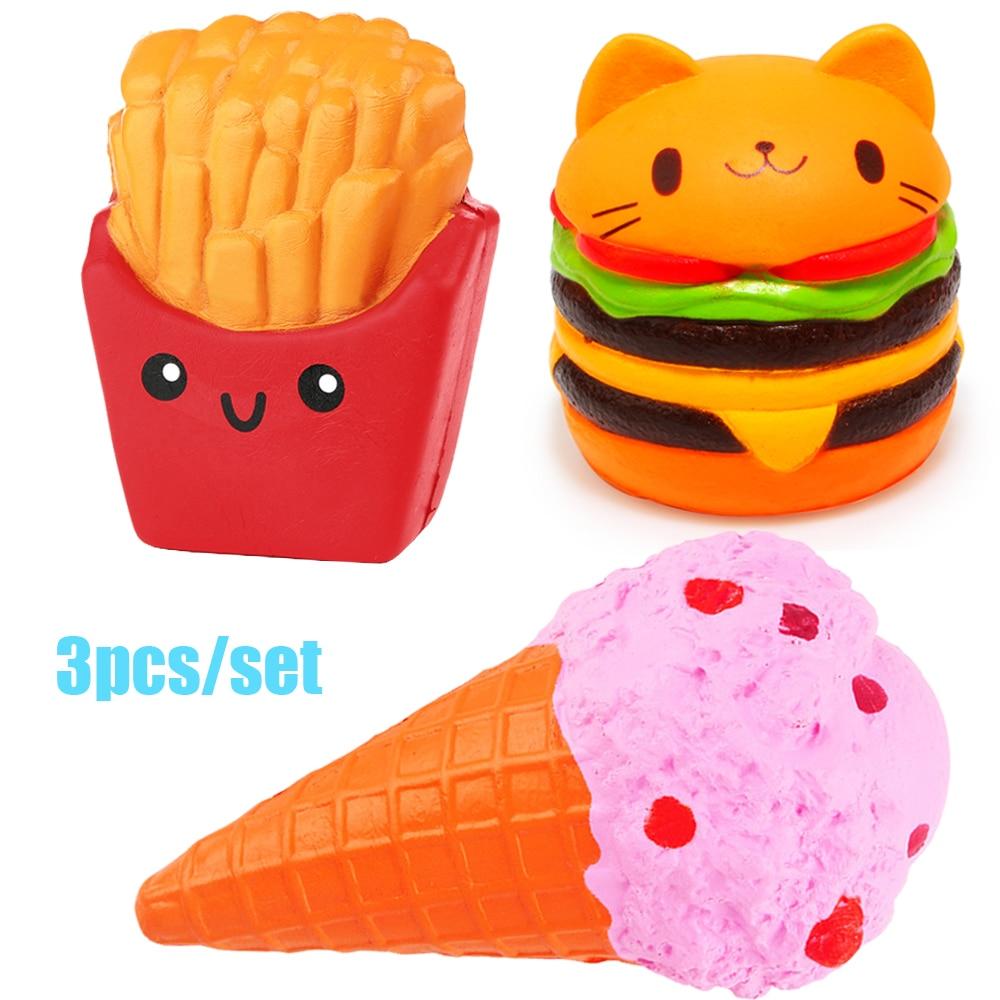 Anti-stress 3pcs Soft Squash Ice Cream Burger Squishy Set Jumbo Slow Rising Food Anti-Stress Squish Toy For Kids Adult Gift New