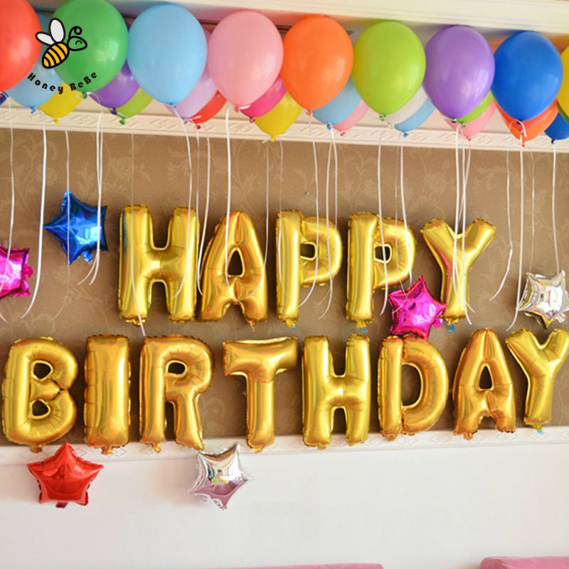 13pcslot 16inch gold happy birthday letter shaped ballons air balloon foil inflatable balloons childrens gift inflatable toy
