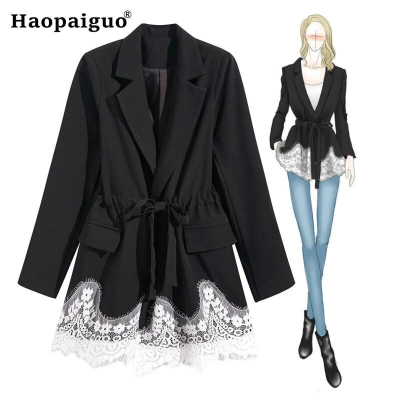 Women Slim Winter Autumn Casual Suit Jacket Female Office Lady Suit None Button Lace Patchwork Black Blazer Coat With Belt