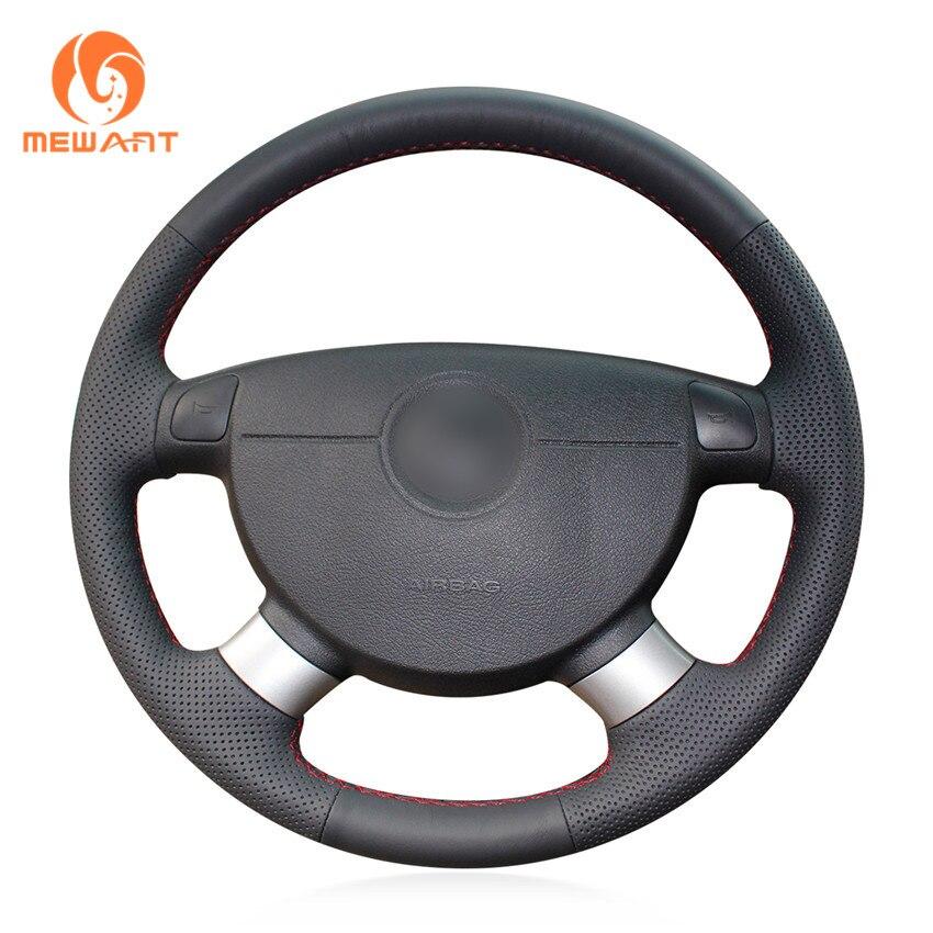 Negro cuero Artificial cubierta de volante para Chevrolet Lova 2006-2010 Chevrolet Aveo Buick Excelle Daewoo Gentra 2013- 2015