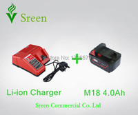 New 4000mAh Lithium Ion Rechargeable Battery Packs With Power Tool Battery Charger Replacement For Milwaukee 18V