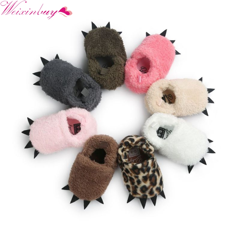 Newborn Infant Winter Warm Leopard Claw Crib Shoes Kid Baby Indoor Slippers Shoes 0-18M 13