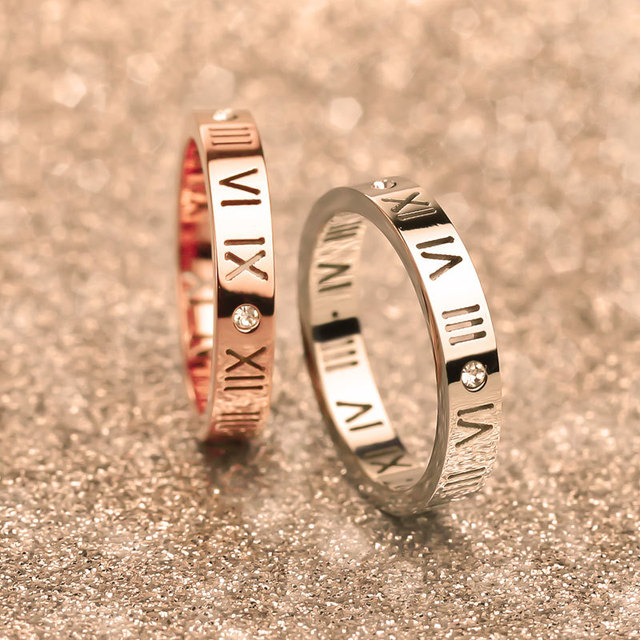 Luxury Brand Stainless Steel Jewelry Titanium Steel Couple Rings