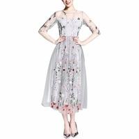 2017 Cute Dresses Gorgeous Half Sleeves Sheer Mesh Elegangt Embroidery Long Dresses Bohemian Vestidos De Festa
