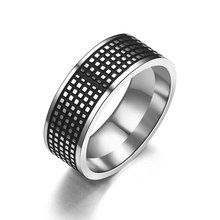 8mm Tire Tread Style Grooved Ring Men Jewelry Rock Punk Vintage Stainless Steel Party Jewelry(China)