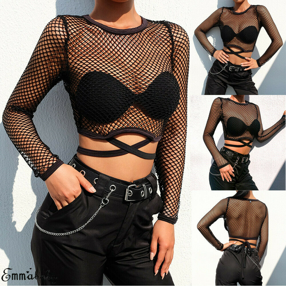 Women Mesh Sheer See Through Top Blouse Ladies Mesh Long Sleeve Crop Tops Party Blouses Hollow Net Slim Blouse S-L