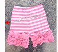 Free Shipping Girls Icing Shorts Boutique Knitted Cotton Children's Multicolor Triple Ruffled Shorties from size 0 to 14t