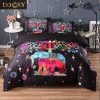 Bonenjoy Elephant Trees Duvet Cover Animal Print Bed Linen Indian Style Quilt Cover King Queen Size Cotton Blend Bedding Kit