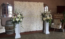 2.4M x 2.4M Ivory Wedding Flower Wall flower backdrop wedding stage decoration including flowers and pipe stand