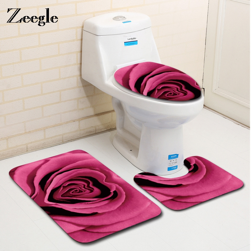 Zeegle Washable 3Pcs Bathroom Rugs and Carpets Anti-slip Toilet Mats Set Washroom Floor Mats Absorbent Bath Rug Shower Foot Pads
