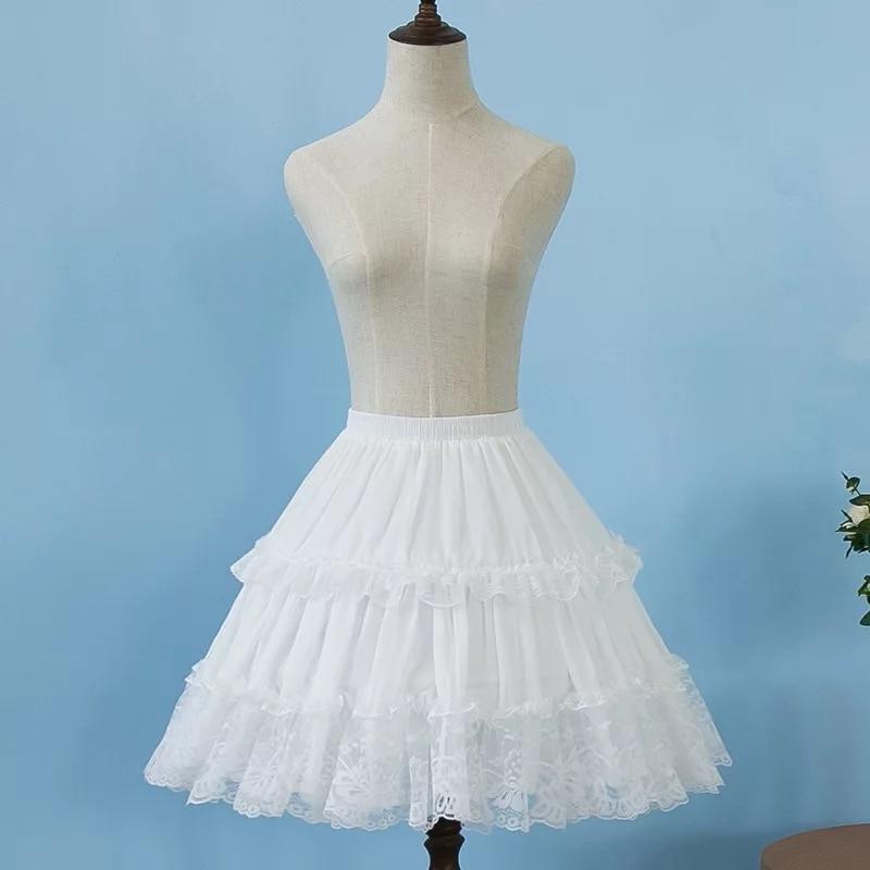 2019 Women Chiffon Black Petticoat Rockabilly Crinoline Lace Appliqued Short Lolita Petticoat Crinoline