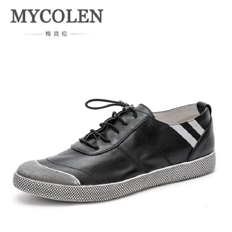 MYCOLEN Printing Men Casual Shoes popular Vintage Style Leather Men Shoes Fashion Male Footwear Espadrille Retro Black Flats 1 design laser cut white elegant pattern west cowboy style vintage wedding invitations card kit blank paper printing invitation