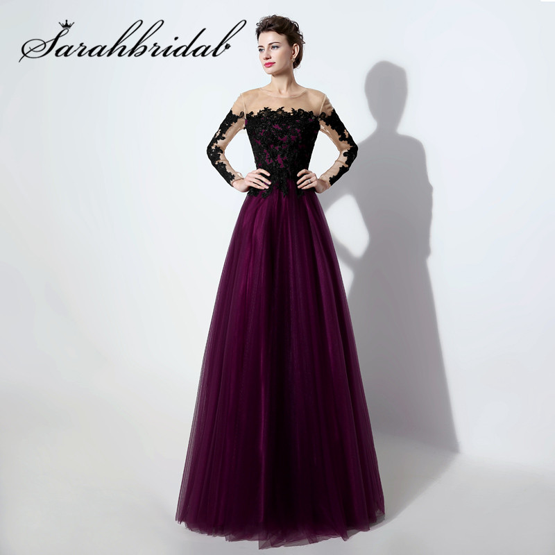 New Arrival Sexy A Line Evening Dresses Purple Black Lace Party Prom Gown hot Hot Sales Online Long Sleeves LX017