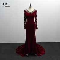 Long Sleeve Prom Dresses 2018 Thanh Lịch Velvet Mermaid Beaded Thạch Dài Prom Dress Custom Made Arabic Đảng Gowns Giá R