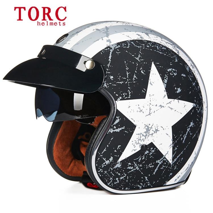 Torc 3 4 open face vintage scotter jet motorcycle helmet motocross capacete cascos moto retro casque