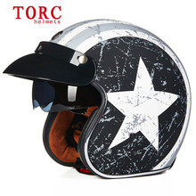 Torc 3/4 open face vintage scotter jet motorcycle helmet motocross capacete cascos moto retro casque casco para motocross vespa